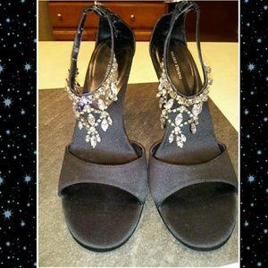 Black and Rhinestone Valerie Stevens heels